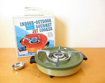 Vintage 60s/70s Riviera Gourmet Jet Cooker-Indoor/Outdoor Vapor Jet Alcohol Burner-Olive Green Metal, Unused in Original Box-Retro Camping!