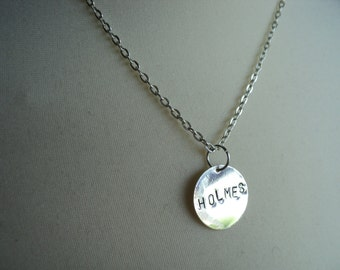 Holmes BBC Sherlock stamped pendant necklace