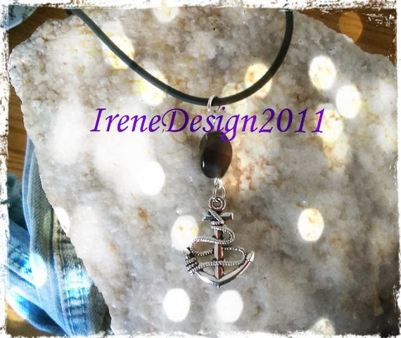 Handmade Leather Necklace with Brown Cat Eye & Anchor by IreneDesign2011