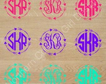 Arrow Monogram Decal Etsy - Monogram decal on car
