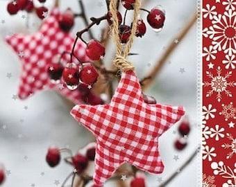 Paper Napkins for Decoupage,Art&Craft design,Stars ,Patchwork ,Collage,Festive,Lunch Napkins, Serviettes - Winter rowan. Set of 5