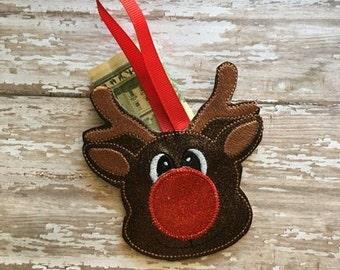 Reindeer - Rudolph - Christmas - Gift Card Holder  - Ornament -  In The Hoop - DIGITAL Embroidery DESIGN