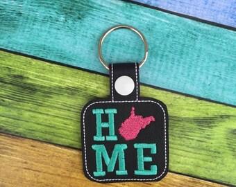 West Virginia HOME - State- The Hoop - Snap/Rivet Key Fob - DIGITAL Embroidery Design