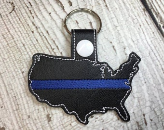 Blue Line Support - USA - US  - United States - Police - In The Hoop - Snap/Rivet Key Fob - DIGITAL Embroidery Design