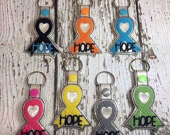 HOPE Awareness Ribbon - Heart - Key Fob Design - DIGITAL EMBROIDERY Design