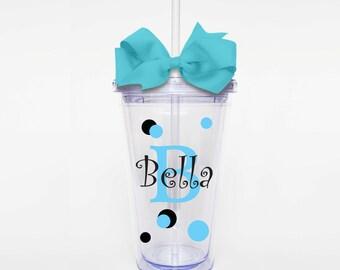 Cutesy Polka Dot Name- Acrylic Tumbler Personalized Cup