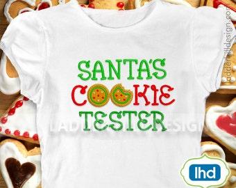 Santas Cookie Tester Applique Christmas Applique Design chr038