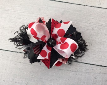 Red Black and White Biggie Dots bow