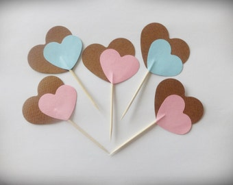 24 Party Picks Mix, Heart Toppers, Valentines Cupcake Toppers, Party Picks, Heart Toppers, Heart Cake Toppers, Valentines Decor