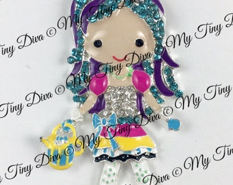 "52mm rhinestone pendant Mad Hatter  ""Alice's Daughter"" inspired pendant for jewelry and chunky bubblegum necklaces a MTD orig design"