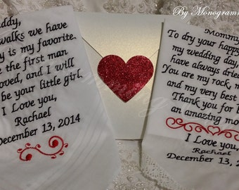 Mom and Dad Personalized Wedding Embroidered Handkerchief. Gift for the Mother and Father of the Bride Free Gift Envelope included.