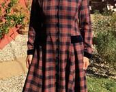 Vintage Laura Ashley Tartan Riding Coat Dress L