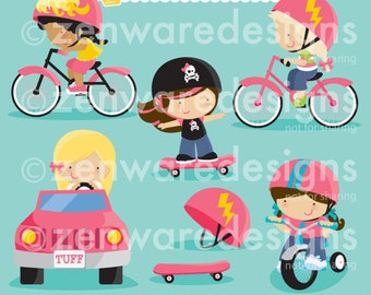 Girl Vehicles Let's Go Clipart
