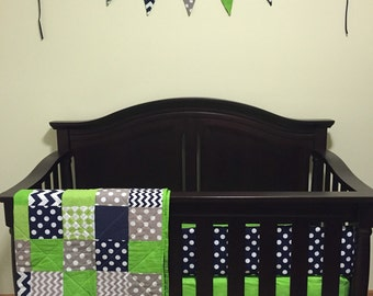 custom crib bedding set (seahawks)