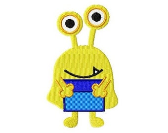 Embroidery Design yellow monster with present 4'x4' - DIGITAL DOWNLOAD PRODUCT