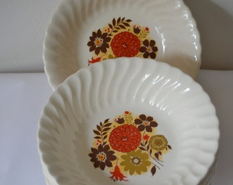 MOD FLORAL Soup Cereal Bowls Set of Six Rust Gold Brown Yellow Retro Bowls