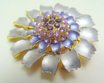 Awesome silvery gray flower brooch with lavender, and purple crystal accents.    2""