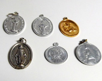 Six- Vintage, silver & gold tone, embossed religious medals. religious pendant, religious jewelry. Catholic