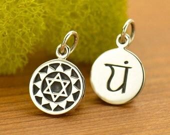 Sterling Silver Etched Heart Chakra,Sanskrit Charm,Yoga Charm,Yoga Spirit Heart Chakra Jewelry,Chakra Channeling,7 Chakra,Yoga Jewelry