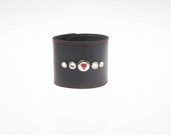 "2-1/2"" ( 63 mm ) wide Black Leather Wristband W/ Genuine Swarovski Crystal Red Stitched border band & Red Heart Stud Cuff Bracelet wristlet"