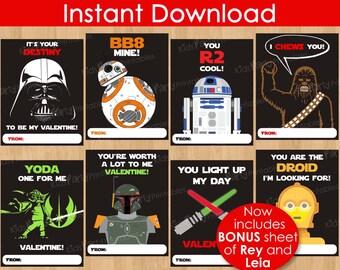 Star Wars Valentines Day Card, INSTANT DOWNLOAD 8pc Star Wars Valentine Cards, PRINTABLE The Force Awakens Kids Classroom Boy Valentine BB8