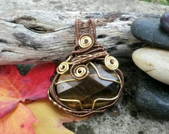 K'tulu Tiger's Eye Bronze & Gold Wirework Pendant Couture Boutique Unique Designer Jewellery Gift for Her