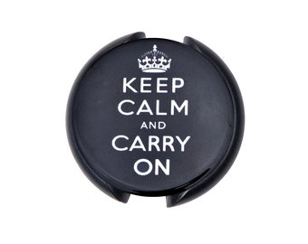 Keep Calm and Carry On Stethoscope ID tag, Name Tag, ID Tag-Black