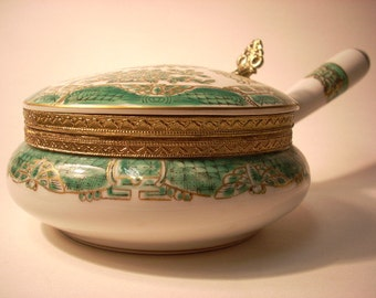 White and Emerald Green Japanese Porcelain Dish with Attached Lid and Handle