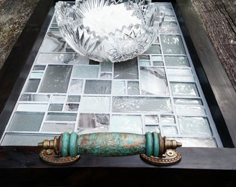 "Ottoman Serving Tray-Soft Teal and Grey Glass Mosaic Tile-Turquoise Wooden Handles-Dark Brown Barn Wood Finish-Rustic Contemporary-27""x15"""