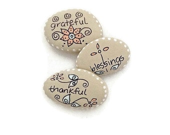 Hand Painted Inspirational River Rocks, Painted Zentangle River Rocks, Decorative River Rocks, Garden Rocks, Rock Art - AUTUMN BLESSINGS