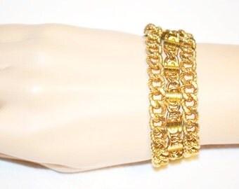 Vintage Three Strand Curb Chain  Bracelet