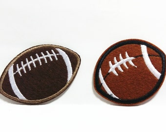 Brown Lt.Brown Amercian Football (5 x 4 cm) Embroidered Applique Iron on Punk Patch (ALW)