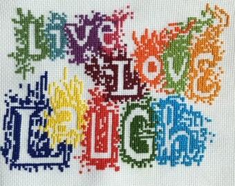 Live Love Laugh - Inspirational Phrase Cross Stitch Pattern - PDF Digital Copy