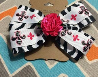 Zebra Print Pink Flower Ribbon Bow