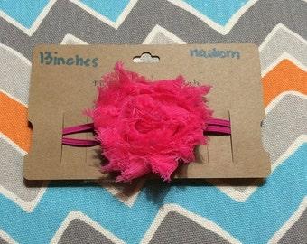 Newborn Sized Shabby Flower Headband 13 inches
