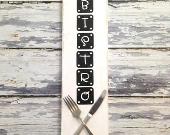 Bistro Art..upcycled knife and fork on pallet wood kitchen sign...Restaurant art..foodie gift..foodie kitchen...Lovely kitchen art