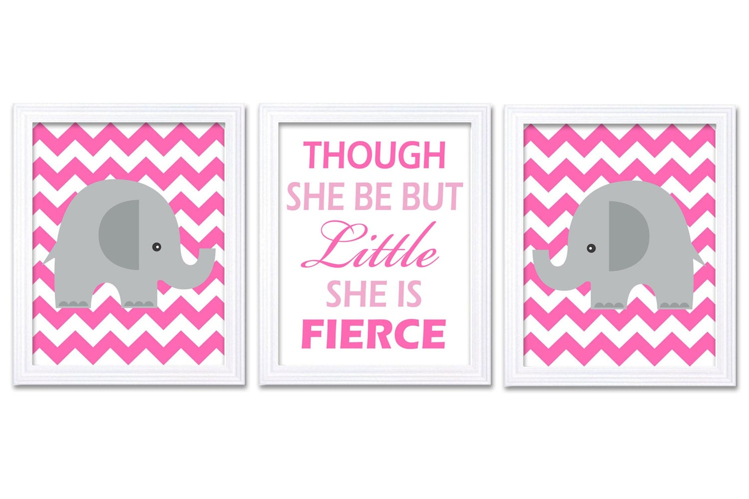 Elephant Nursery Art Set of 3 Prints Hot Pink Though She Be But Little She is Fierce Child Kid Girl