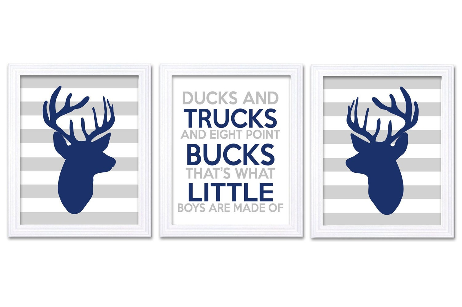 Deer Nursery Art Deer Head Prints Set of 3 Ducks Trucks Bucks Little Boys Are Made of Navy Blue Grey