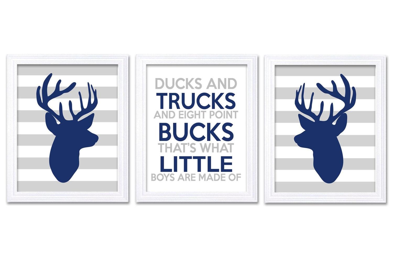 Deer Nursery Art Deer Head Prints Set of 3 Ducks Trucks Bucks Little Boys Are Made of Navy Blue Grey