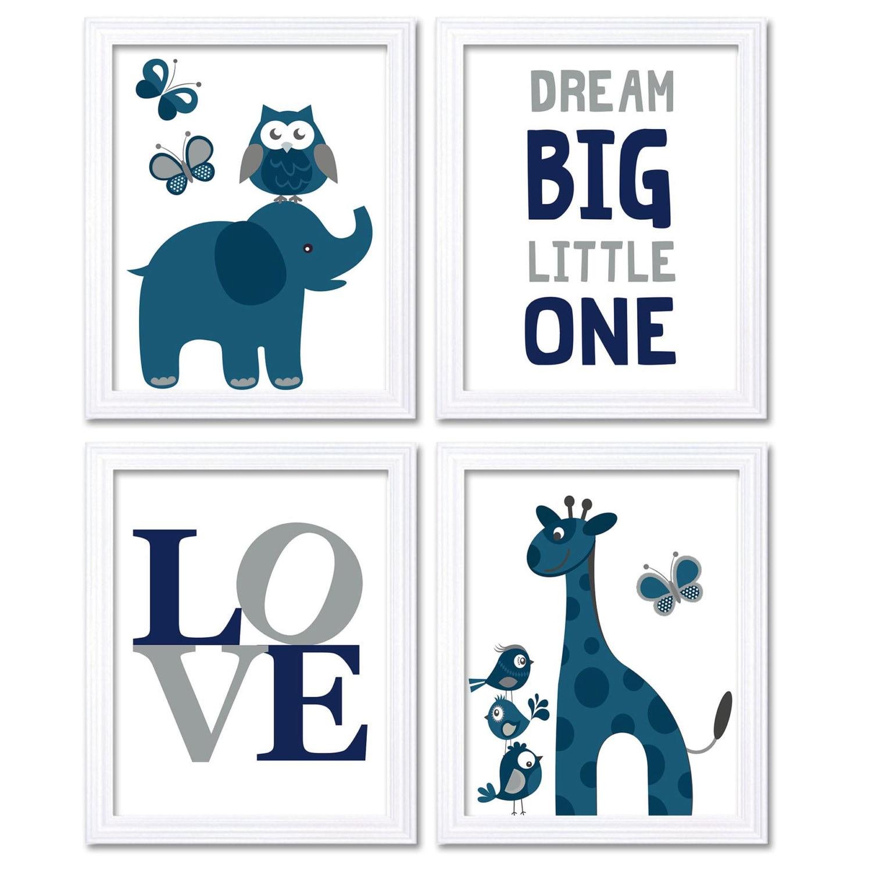 Navy Blue Grey Elephant Giraffe Owl Nursery Art Dream Big Little One LOVE Set of 4 Prints Child Kids