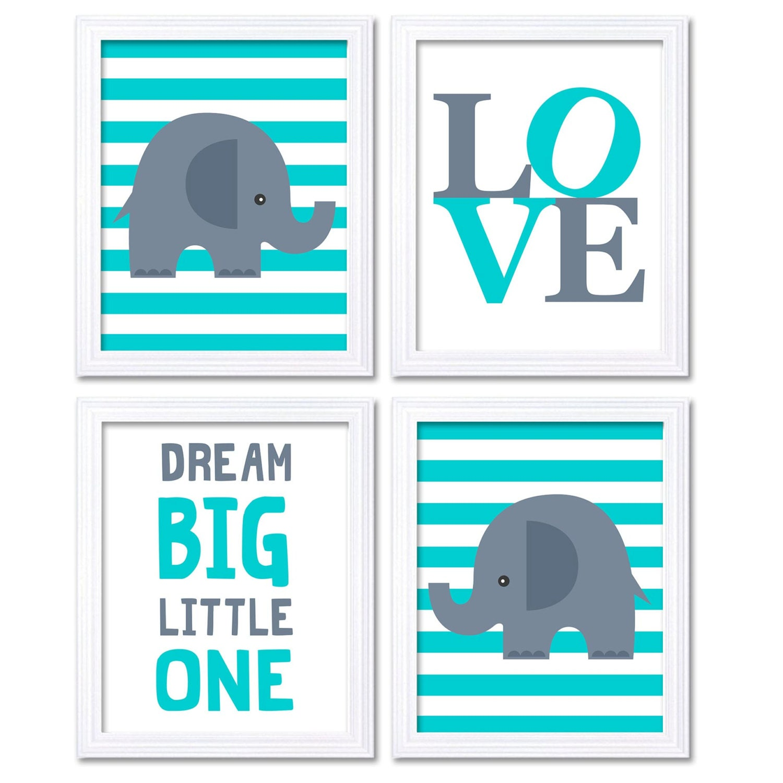 Turquoise Blue Grey Elephant Nursery Art Dream Big Little One LOVE Set of 4 Prints Stripes Child Art