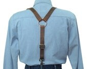 Distressed Dark Brown Leather Suspenders with Silver Ring Back