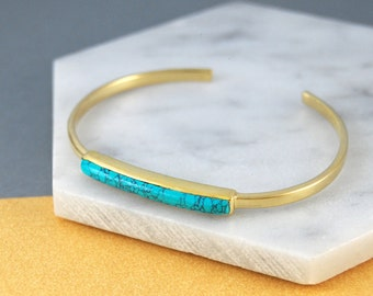 Turquoise Bangle, Gold Cuff Bangle, Turquoise Bracelet, Gold Gemstone, Bangle Bracelet, Birthstone Bracelet, Adjustable Bangle, Gold Jewelry