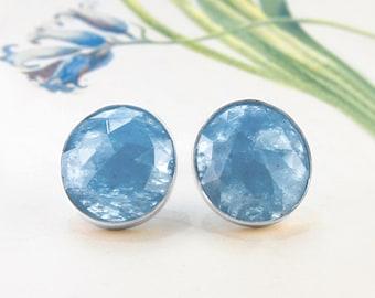 Aquamarine Stud Earrings, Statement Earrings, Silver Studs, Precious Gemstone Studs, March Birthstone Earrings, Silver Gemstone Earrings,