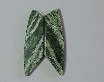 green serpentine chrysotile cabochons for earrings