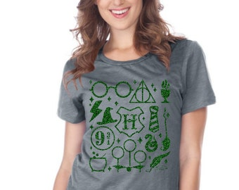 Wizard Symbols - Slytherin - Hogwarts - Deathly Hallows - Inspired - Disney - 15 Different Shirt Styles To Choose From