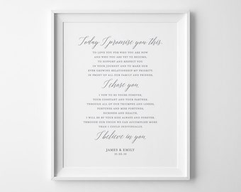 Personalized Gift for Her, Custom Wedding Vows Print, Christmas Gift for Him, Wedding Gift for Couple, Anniversary Gift for Wife for Husband