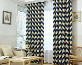 Blue chevron curtains – Etsy