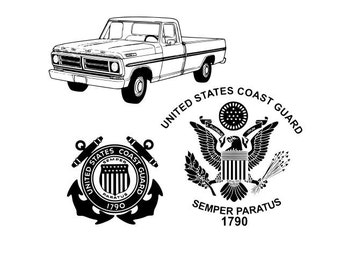 3 svg files old truck and coast guard files