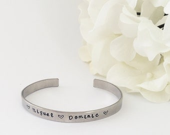Name cuff, bracelet, stamped saying, name, or date, sterling silver
